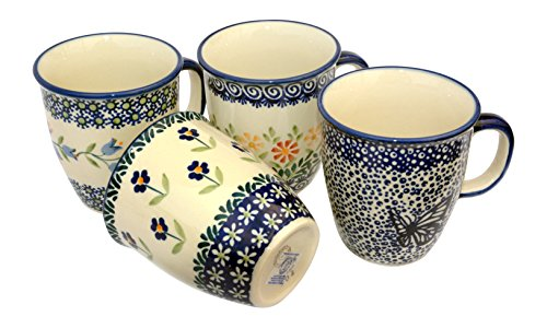 hand-decorated-polish-pottery-manu-faktura-set-of-4cold-tap-081asdx-assx-js14hmot-mugs-quartet-mars-