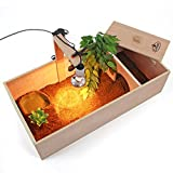 Tortoise Table Small Pet Reptile Wooden House Hide Shelter Den with Run and Lamp Arm