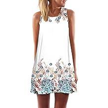 Elecenty Damen Ärmellos Sommerkleid Minikleid Strandkleid Partykleid  Mädchen Blumenmuster Kleider Frauen Mode Kleid Kurz Hemdkleid Reizvolle 51fc38329f