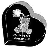 Kaltner Präsente Geschenkidee - Herz aus Glas: Kristallglas mit 3D-Laser-Gravur Teddy Rose für die beste Mami der Welt