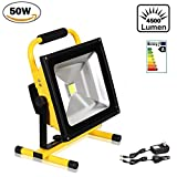 T-SUN 50W LED Rechargeable Portable Work Light, IP65 Waterproof Stand Detachable Flood Light, Security Emergency Light, 4500LM, Daylight 6000K, Outdoor Site Light, UK Adapter and Car Charger Included.