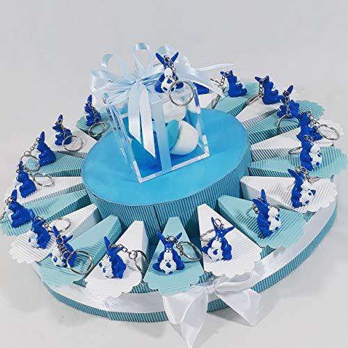 Bomboniere nascita battesimo asinello pallone napoli calcio portachiavi (torta da 35 fette)