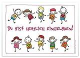ArtUp.de 12 lustige Einladungskarten | schön illustrierte Postkarten mit fröhlich tanzenden Kindern Strichmännchen | Kindergeburtstag Einladungen Geburtstag Geburtstagseinladungen Text Vorlage