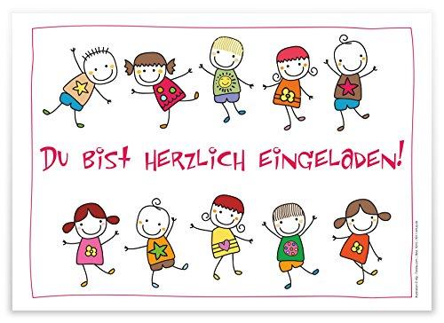 12 Lustige Einladungskarten Kindergeburtstag Schön Illustriert Fröhliche  Tanzende Kinder Strichmännchen Geburtstagseinladungen Einladungen Geburtstag  Jungen ...