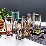Tumblers Farbige Trinken Brille, Hitzebeständig Für Wasser Getränke Cocktails Durchsichtige Trinken Brille Becher-Set Satz von 6 Clear-E 270ml(9.5 oz)