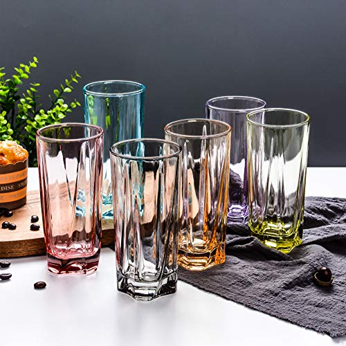 Tumblers Farbige Trinken Brille, Hitzebeständig Für Wasser Getränke Cocktails Durchsichtige Trinken Brille Becher-Set Satz von 6 Clear-E 270ml(9.5 oz) - Weingläser Farbige Multi