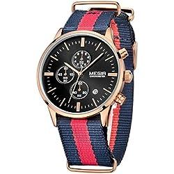 Megir Men Sport Luminous Canvas Strap Quartz Wrist Watches