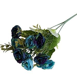 gzzebo 10 Jefes Artificial Rosa Begonia Flor Plantas Home Garden Oficina Fiesta Decoración de la Boda Rojo