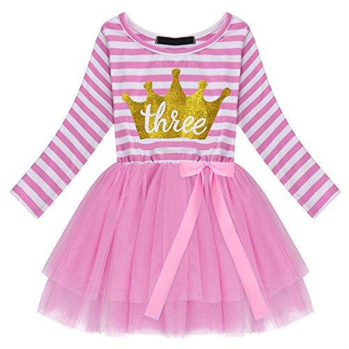 aby Mädchen 1. 2. 3. Jahre Geburtstag Party Kleid Gestreift Tüllkleid Langarm Glänzend Krown Prinzessin Tütü Festkleid Streifen Herbstkleid Freizeit Fotoshooting Bekleidung ()