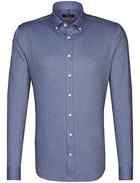 SEIDENSTICKER Herren Hemd Slim 1/1-Arm Bügelleicht City-Hemd Button-Down-Kragen Kombimanschette weitenverstellbar