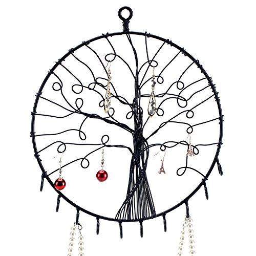 Wand hängen Metall rund Baum Silhouette Design Schmuck Halter, Ohrringe und Halskette Haken, schwarz