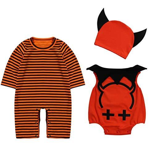 Devil Kostüm Boy - Le SSara Baby devil & Vampire Halloween Bodys newborn Body Kostüm Outfits 3pcs (95, A-Orange)