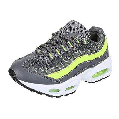 Damen Schuhe, 381-11, Freizeitschuhe SNEAKERS TURNSCHUHE Grau Grün