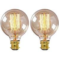 Lampadina Edison vintage di Onpere, globo G80, BC B22, baionetta, 60W, dimmerabile, a vite, a spirale, lampadina bianco caldo, Vetro, 2 Pack G80 Bulb, b22 40.0 wattsW 240.00 voltsV
