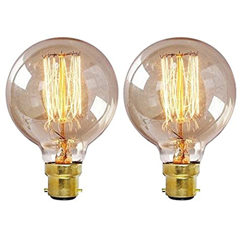 ONEPRE Pack of 2 Retro Filament Light Bulb G80 Globe