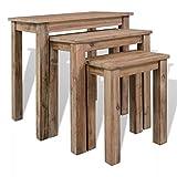 XINGLIEU Tisch für Haus Zimmer Innen Multifunktionsgerät recyceltem Massivholz Tisch stapelbar 3Stück