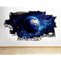 Z023 Earth Space Moon Planet Boys Bedroom Cool Wall Decal 3D Art Stickers Vinyl Kids Bedroom Baby Nursery Cool Livingroom Hall Boys Girls (Medium (52x30cm))