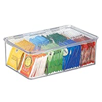 mDesign Tea Storage Boxes - Plastic Tea Box with 8 Compartments Holds up to 100 Tea Bags - Stackable Tea Bag Holder - Clear