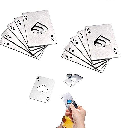 10Pcs Flaschenöffner, Edelstahl Bieröffner, Pik eine geformte Kreditkartengröße, Casino Poker Flaschenöffner