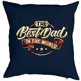 Kissen mit Füllung - THE Best Dad IN THE WORLD - Witziges Zusatzkissen, Vatertag, Geschenkidee. Farbe: navi-blau