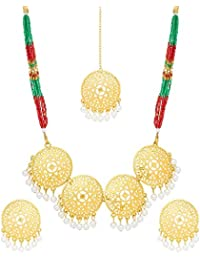 The Luxor Multi-Color Fashion Haram Mala Necklace Set With Earrings For Women & Girls-NK-2200