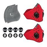 Maschera Sportiva Filtro, KrisvieGas di Scarico Antipolvere a Carboni Attivi Filtrazione Gas di Scarico PM2.5 per la Corsa in Bicicletta e attività all'aperto (Rosso 2Pezzi)