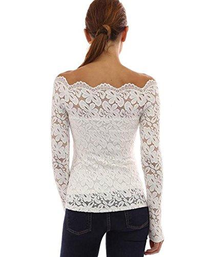 Tkria Donna Pizzo Chiffon Senza Spalline Manica Lunga Maglietta Camicia Nero Bianco Bianca