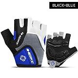 MYSdd Fahrradhandschuhe Halffinger Herren Damen Sommer Sport Fahrradhandschuhe Nylon Mountainbike Handschuhe - 5mm Gel Pad-Blau XSX Z3
