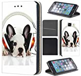 CoverFix Premium Hülle für Samsung Galaxy S4 / S4 Neo Flip Cover Schutzhülle Kunstleder Flip Case Motiv (1596 Französische Bulldogge mit Kopfhörer Hund)