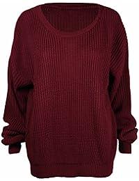 Purple Hanger - Pullover Damen Strickpulli Lang Und Lässig Weit Geschnitten Langarm Grob Strick