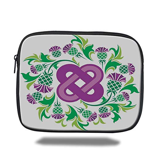 Laptop Sleeve Case,Celtic,Eternal Life Symbol Celtic Motif Surrounded with Thistle Flower and Leaves Image,Purple Green,Tablet Bag for Ipad air 2/3/4/mini 9.7 inch Purple Thistle