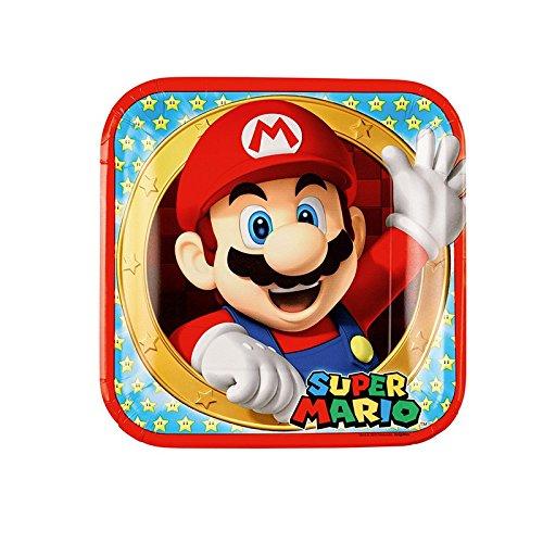 Amscan–9901535–Teller aus Pappe Super Mario, 23cm