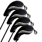 Andux Hybrid golf Schlägerkopfhüllen Golf Eisen deckt Eisenhauben austauschbar Nr. Etikett 4pcs/set MT/hy06 schwarz/silber