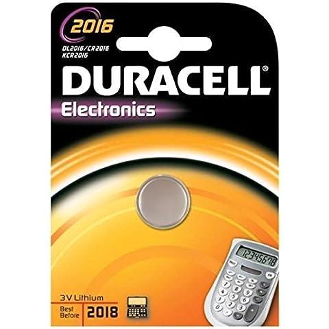 Duracell Botón de la célula de litio, CR2016 / DL2016 / 5000LC / K-CR2016 / E-CR2016 / SB-T11 / 280-206, 3V - 1