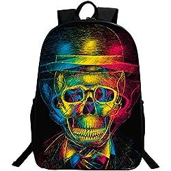 Mochila bolsas, GIM moda mochila de viaje Camping Casual mochila impresión de calavera mochila escolar mochila Back Pack, Colorful