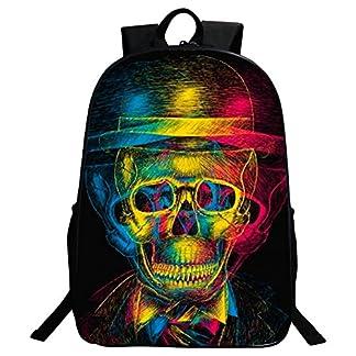 51XHh6BB03L. SS324  - Mochila bolsas, Gim moda mochila de viaje Camping Casual mochila impresión de calavera mochila escolar mochila Back Pack