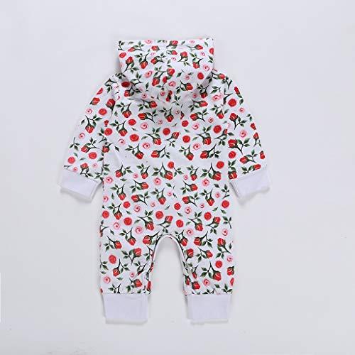 MHC~KJ Newborn Infant Kids Baby Girls Floral Hooded Zipper Long Sleeve Romper Jumpsuit Red Image 5