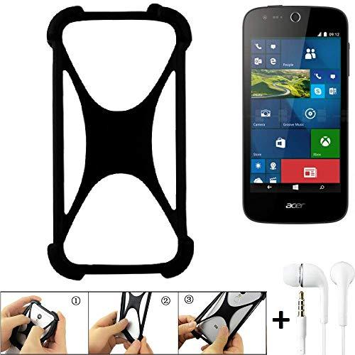 K-S-Trade Handyhülle für ACER Liquid M330 Schutzhülle Bumper Silikon Schutz Hülle Cover Case Silikoncase Silikonbumper TPU Softcase Smartphone, schwarz (1x), Headphones