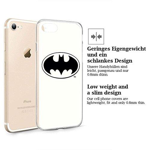 finoo | iPhone 8 Plus Weiche flexible Silikon-Handy-Hülle | Transparente TPU Cover Schale mit Motiv | Tasche Case Etui mit Ultra Slim Rundum-schutz |Batman Comic Close Up Batman Logo white middle
