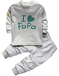 Bold N Elegant I Love Papa Twin Set Little Boy Girl Two Piece Set Full Length Set Tshirt Pant Pyjama Set for Small Baby Kids (Greenish Grey, 9-12 Months)