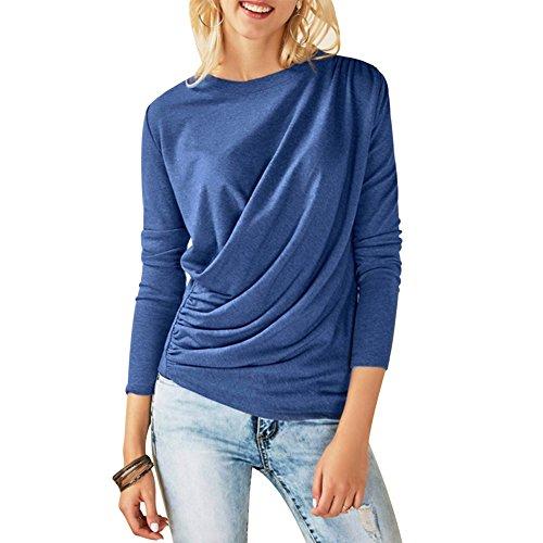 Dihope Femme Automne Printemps Top à Manches Longues T-shirt Casual Couleur Unie Col Rond Tee-shirt Mode Blouse Haut Bleu