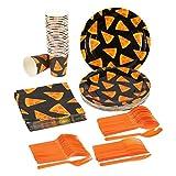 Juvale - Servizio di stoviglie usa e getta per 24 pizza, include coltelli, cucchiai, forchette, piatti di carta, tovaglioli, tazze, nero, arancione
