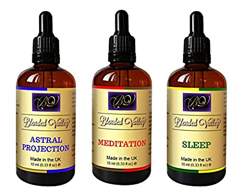 Spiritual Gift Set - 3 Aromatherapy Blends - Meditation, Astral Projection and Sleep. For Aroma Diffuser, Burner. Essential Oils in Apricot Kernel Oil Mix. Use for Yoga, Relaxation or as Anointing Oil