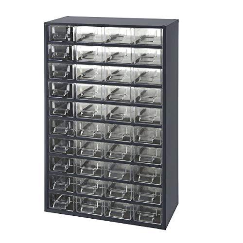 Certeo Schubladenmagazin aus Stahl | HxBxT - 630 x 366 x 173 mm | 40 transparente Schubladen | Gehäuse anthrazitgrau | Traglast 60 kg | Kleinteilemagazin Klarsichtmagazin