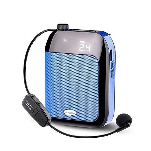 Kabellose Mini Sprachverstärker Tragbare Stimmverstärker Lautsprecher (15W) mit Headset Mikrofon megafon für Reiseführer, Lehrer, U Trainer, Vorträge ( Color : Blue ) (Einfache Kostüm Für Lehrer)