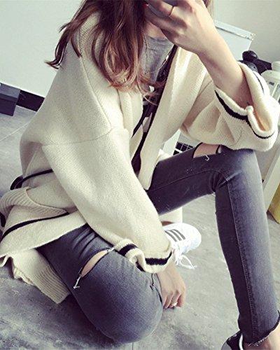 Donna Cardigan Maniche Lunghe Oversize Casual Maglieria Maglione Outwear Cappotto Beige