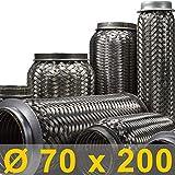 Flexrohr | Flexstück | Flexteil | Flexibles Rohr | Auspuff | Auspuffrohr | Mitteltopf | Endtopf | Hosenrohr | Abgasrohr | Drahtgeflecht | Flexschlauch | Universal (Innen Ø 70mm, Gesamt 200mm)