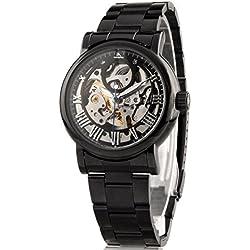 Alienwork IK Automatic Watch Self-winding Skeleton Mechanical Metal black black 98294G-A