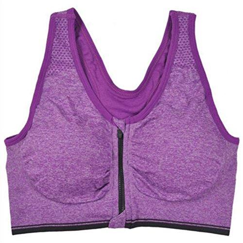 atractivo Luz Femme Fitness Débardeur sans coutures Zip avant sport Yoga Soutien-gorge Violet