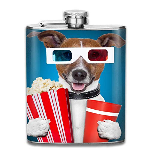 Dog with Popcorn and Goggles Wine Water Hip Flask for Liquor Stainless Steel Bottle Alcohol 7oz